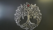 Tree-of-Life-with-Red-Leaf---brushed-metal