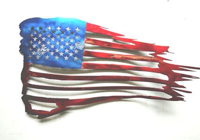 50 Stars USA Metal Flag