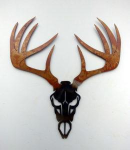 Deer Skull with Antlers Metal Art