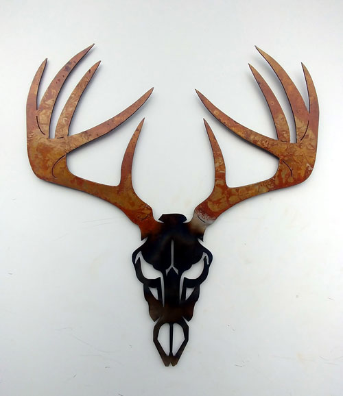 Deer Skull with Antlers Metal Art