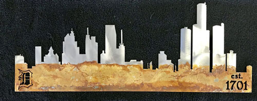 Detroit Skyline Metal Art